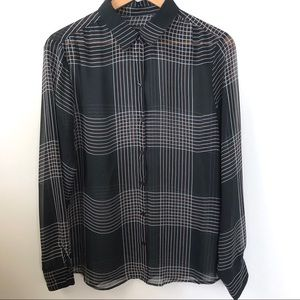 Banana Republic sheer navy button up size large